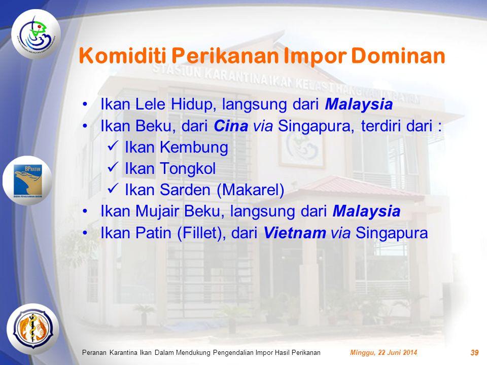 Komiditi Perikanan Impor Dominan Minggu, 22 Juni 2014Peranan Karantina Ikan Dalam Mendukung Pengendalian Impor Hasil Perikanan 39 •Ikan Lele Hidup, langsung dari Malaysia •Ikan Beku, dari Cina via Singapura, terdiri dari :  Ikan Kembung  Ikan Tongkol  Ikan Sarden (Makarel) •Ikan Mujair Beku, langsung dari Malaysia •Ikan Patin (Fillet), dari Vietnam via Singapura