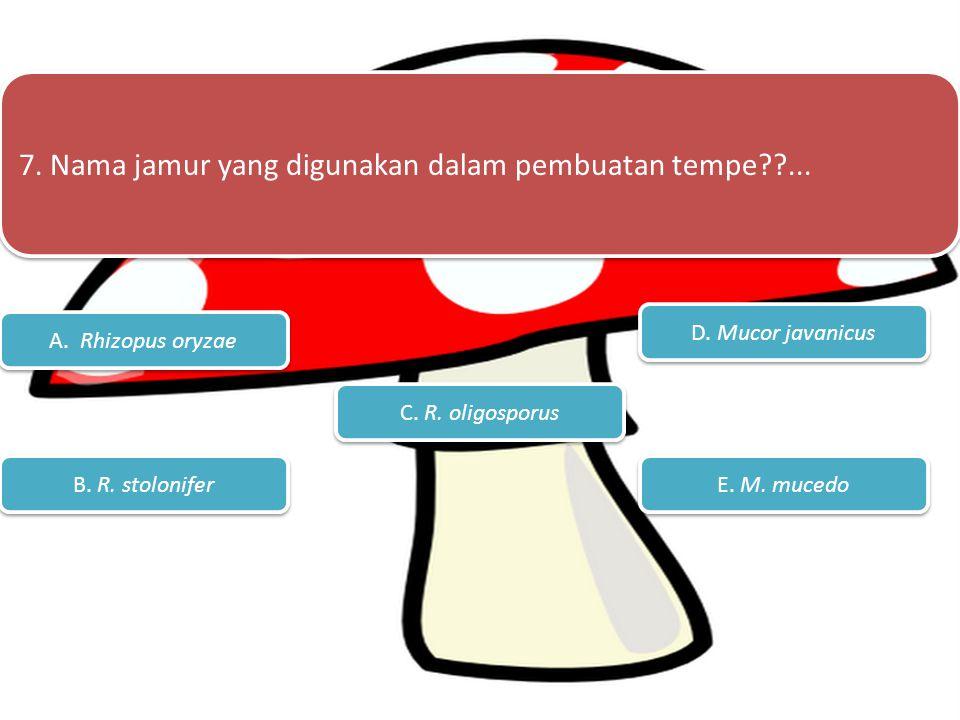 6. Berapa macam proses reproduksi pada jamur?... A. 1 B. 2 C. 3 E. Semua jawaban benar D. Jawaban A dan B benar