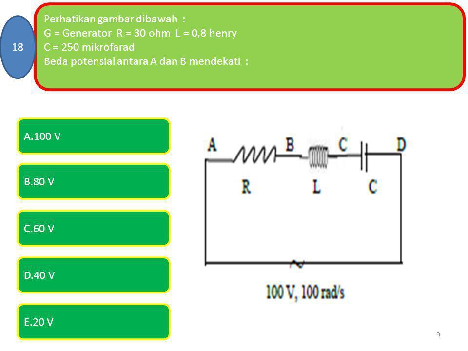 Perhatikan gambar dibawah : G = Generator R = 30 ohm L = 0,8 henry C = 250 mikrofarad Beda potensial antara A dan B mendekati : 18 E.20 V A.100 V B.80