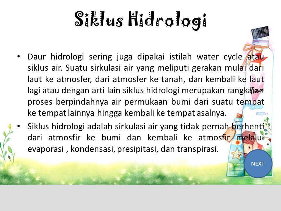 Kompetensi Dasar Menjelaskan konsep terjadinya siklus hidrologi BACK