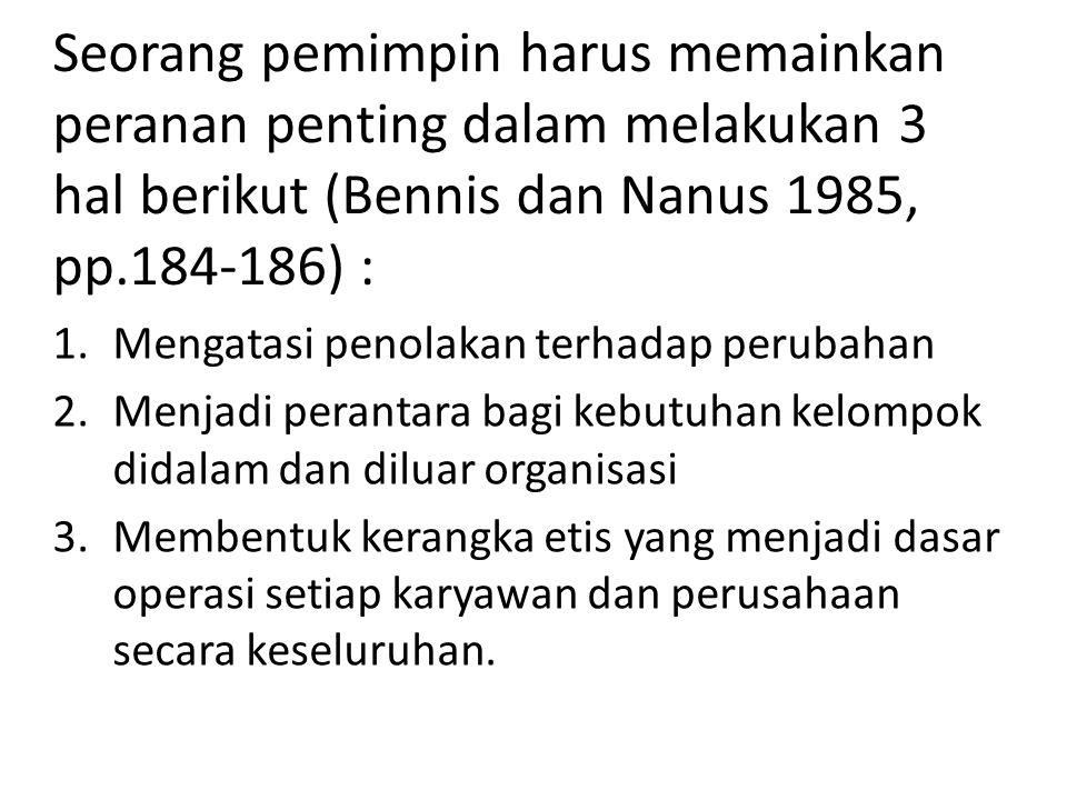 Seorang pemimpin harus memainkan peranan penting dalam melakukan 3 hal berikut (Bennis dan Nanus 1985, pp.184-186) : 1.Mengatasi penolakan terhadap pe