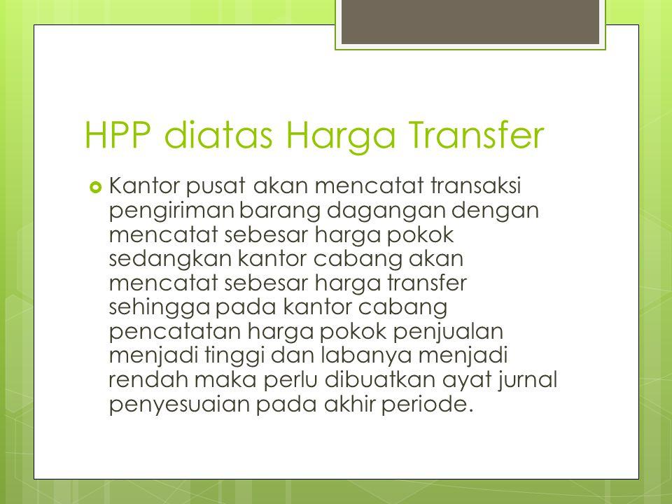 HPP diatas Harga Transfer  Kantor pusat akan mencatat transaksi pengiriman barang dagangan dengan mencatat sebesar harga pokok sedangkan kantor caban