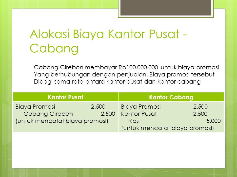 Alokasi Biaya Kantor Pusat - Cabang Kantor PusatKantor Cabang Biaya Promosi 2.500 Cabang Cirebon 2.500 (untuk mencatat biaya promosi) Biaya Promosi 2.