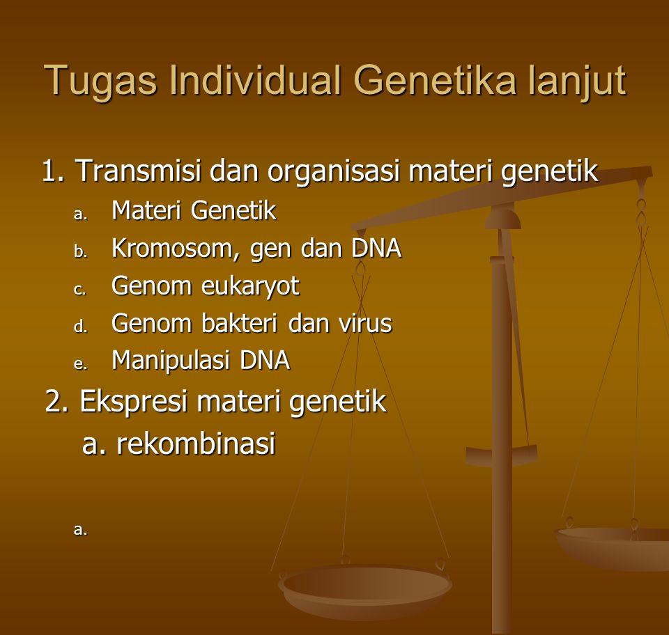 Tugas Individual Genetika lanjut 1. Transmisi dan organisasi materi genetik a. Materi Genetik b. Kromosom, gen dan DNA c. Genom eukaryot d. Genom bakt