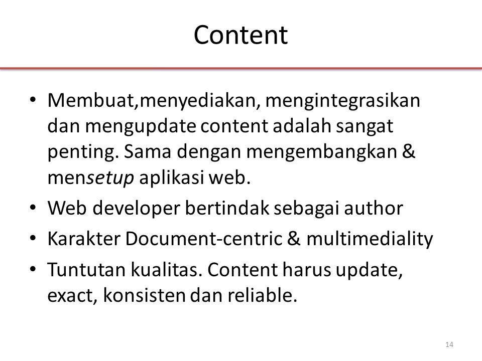 Content • Membuat,menyediakan, mengintegrasikan dan mengupdate content adalah sangat penting.