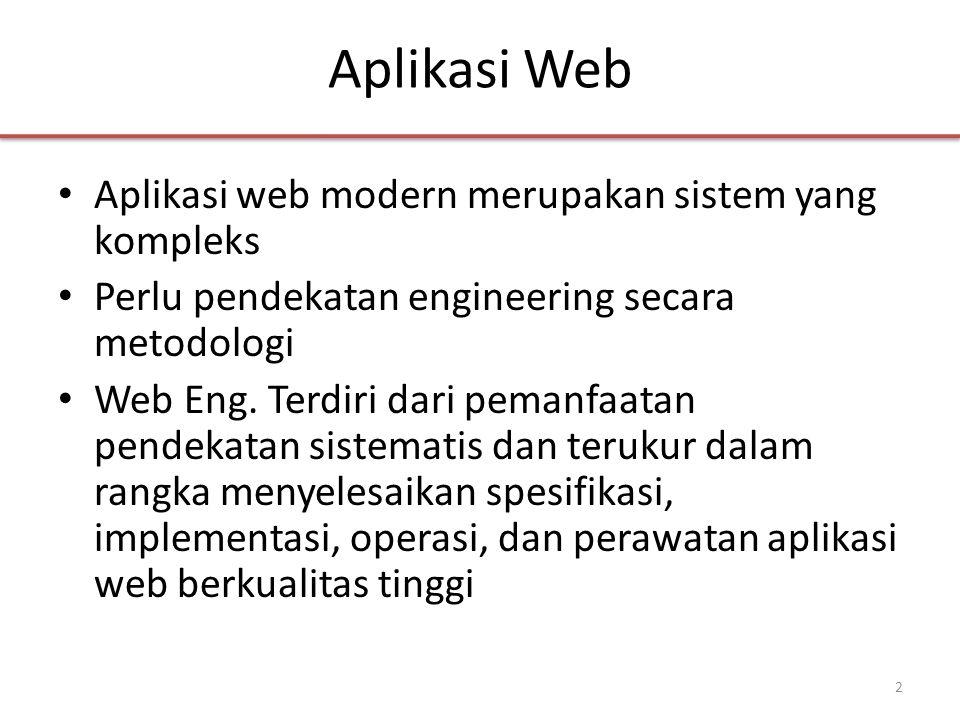 Aplikasi Web • Aplikasi web modern merupakan sistem yang kompleks • Perlu pendekatan engineering secara metodologi • Web Eng.