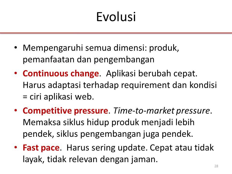 Evolusi • Mempengaruhi semua dimensi: produk, pemanfaatan dan pengembangan • Continuous change.