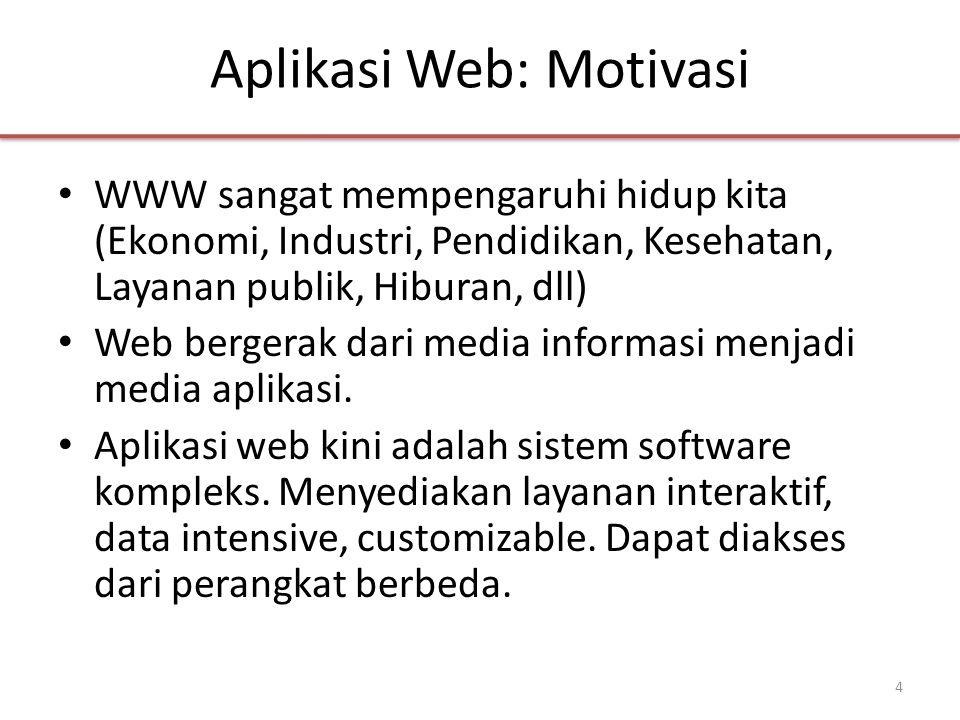 Aplikasi Web: Motivasi • WWW sangat mempengaruhi hidup kita (Ekonomi, Industri, Pendidikan, Kesehatan, Layanan publik, Hiburan, dll) • Web bergerak dari media informasi menjadi media aplikasi.