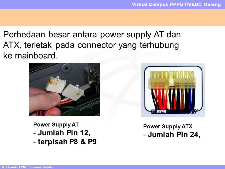 ICT Center LPMP Sulawesi Selatan Virtual Campus PPPGT/VEDC Malang Perbedaan besar antara power supply AT dan ATX, terletak pada connector yang terhubung ke mainboard.
