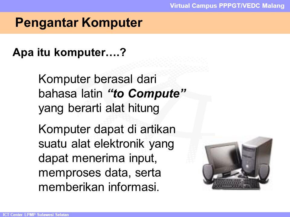 ICT Center LPMP Sulawesi Selatan Virtual Campus PPPGT/VEDC Malang Pengantar Komputer Apa itu komputer…..