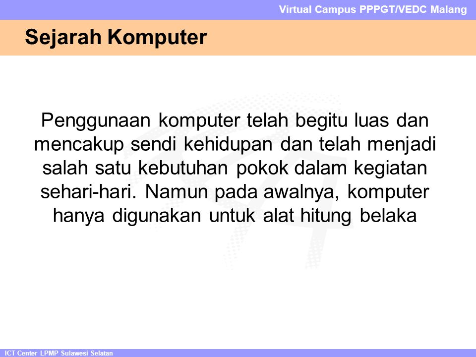 ICT Center LPMP Sulawesi Selatan Virtual Campus PPPGT/VEDC Malang Slot Memory