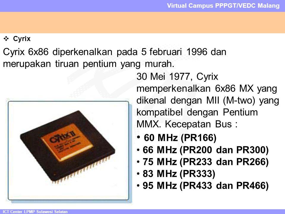 ICT Center LPMP Sulawesi Selatan Virtual Campus PPPGT/VEDC Malang  Cyrix Cyrix 6x86 diperkenalkan pada 5 februari 1996 dan merupakan tiruan pentium yang murah.