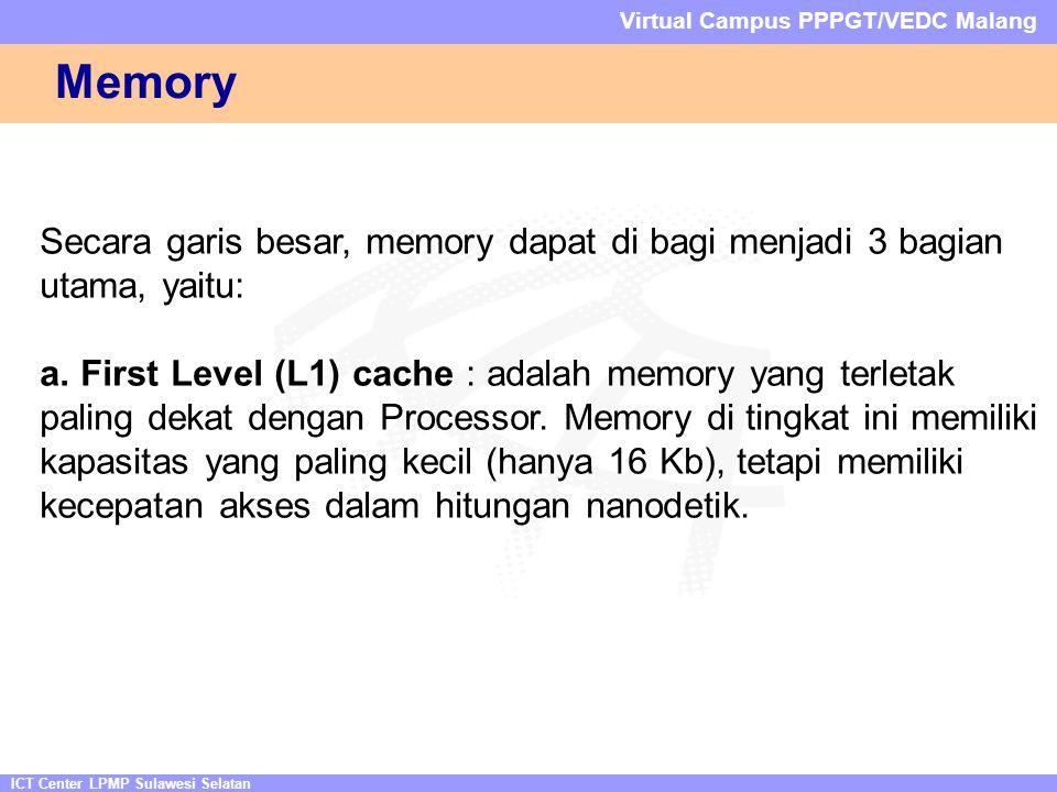 ICT Center LPMP Sulawesi Selatan Virtual Campus PPPGT/VEDC Malang Memory Secara garis besar, memory dapat di bagi menjadi 3 bagian utama, yaitu: a.