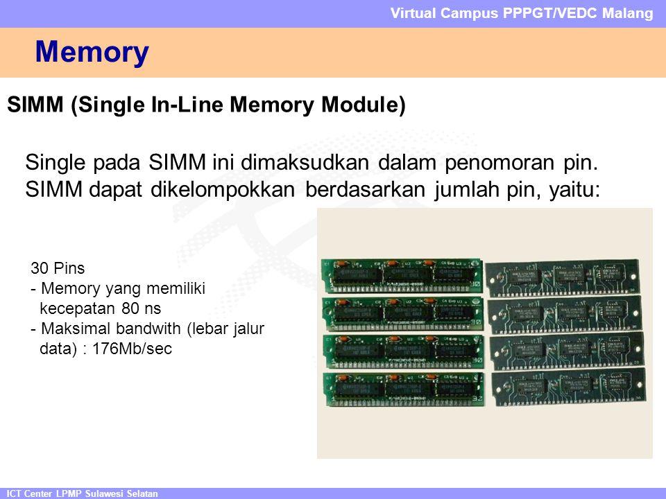 ICT Center LPMP Sulawesi Selatan Virtual Campus PPPGT/VEDC Malang Memory SIMM (Single In-Line Memory Module) Single pada SIMM ini dimaksudkan dalam penomoran pin.