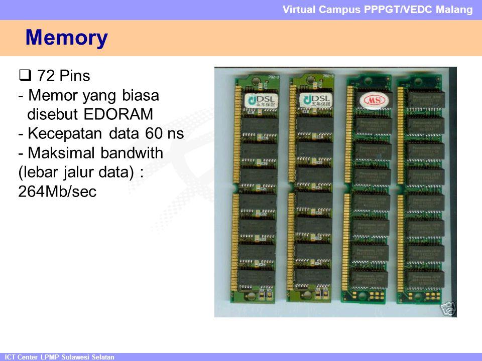 ICT Center LPMP Sulawesi Selatan Virtual Campus PPPGT/VEDC Malang Memory  72 Pins - Memor yang biasa disebut EDORAM - Kecepatan data 60 ns - Maksimal bandwith (lebar jalur data) : 264Mb/sec