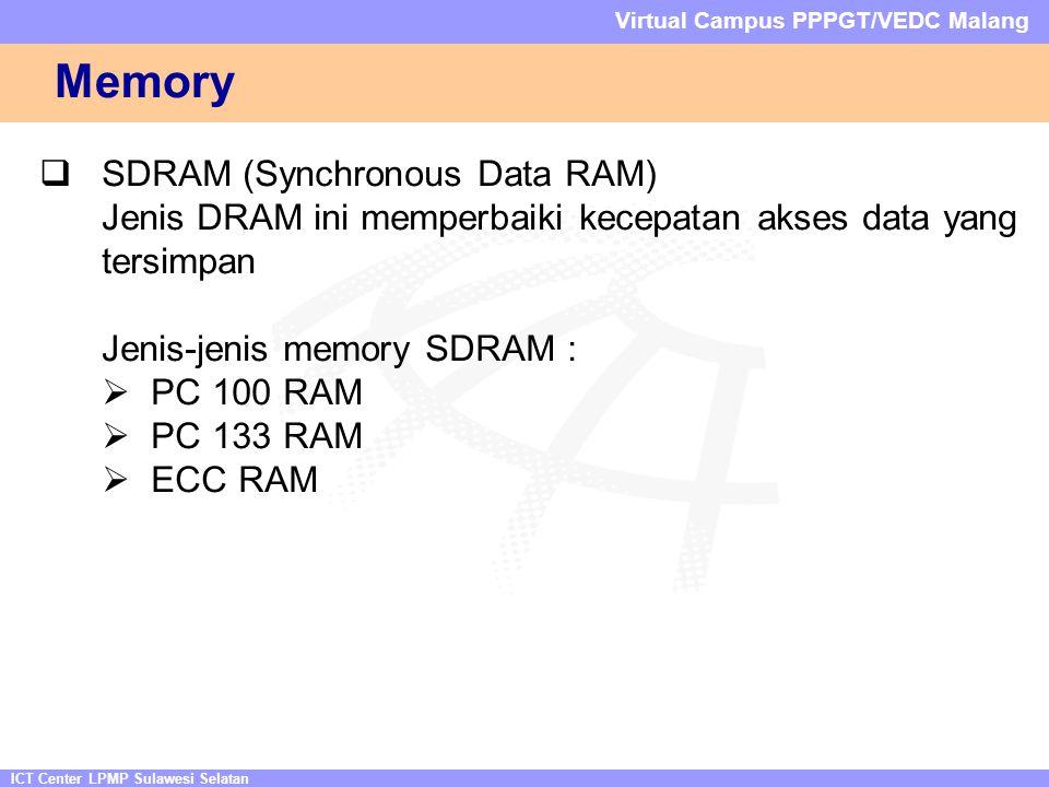 ICT Center LPMP Sulawesi Selatan Virtual Campus PPPGT/VEDC Malang Memory  SDRAM (Synchronous Data RAM) Jenis DRAM ini memperbaiki kecepatan akses data yang tersimpan Jenis-jenis memory SDRAM :  PC 100 RAM  PC 133 RAM  ECC RAM