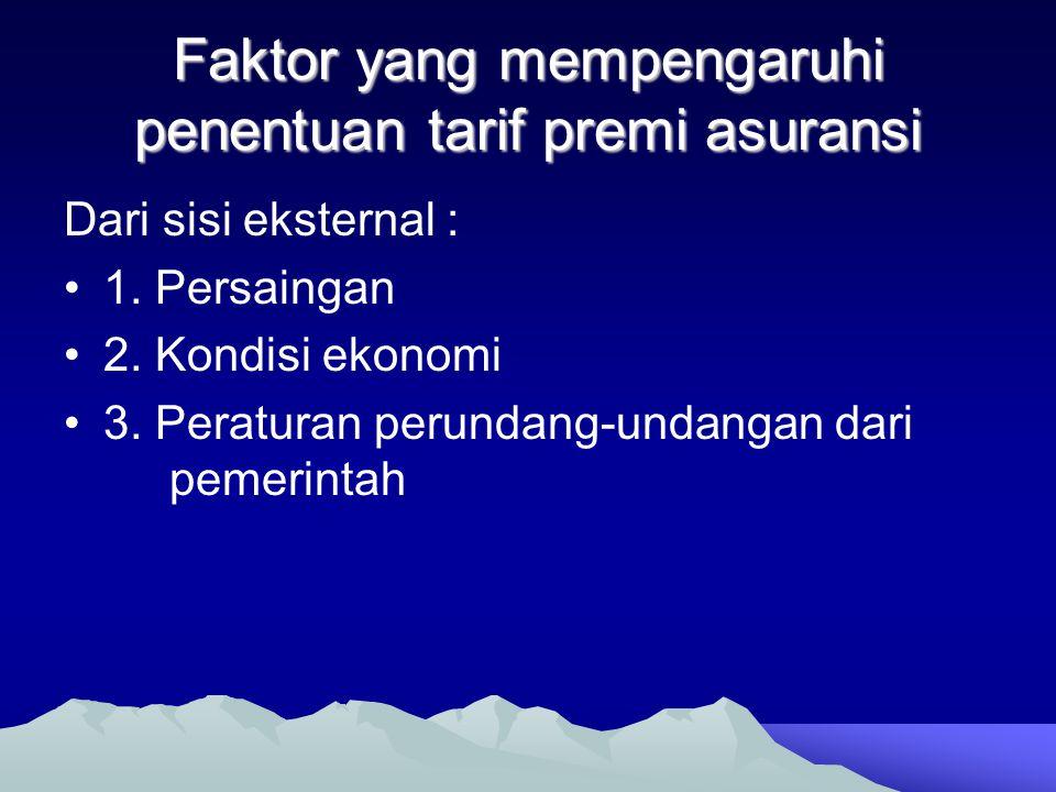 Faktor yang mempengaruhi penentuan tarif premi asuransi Dari sisi eksternal : •1. Persaingan •2. Kondisi ekonomi •3. Peraturan perundang-undangan dari