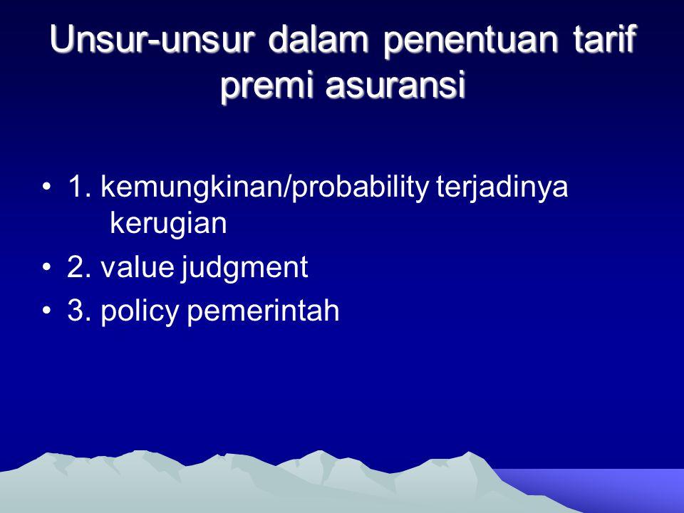 Unsur-unsur dalam penentuan tarif premi asuransi •1. kemungkinan/probability terjadinya kerugian •2. value judgment •3. policy pemerintah