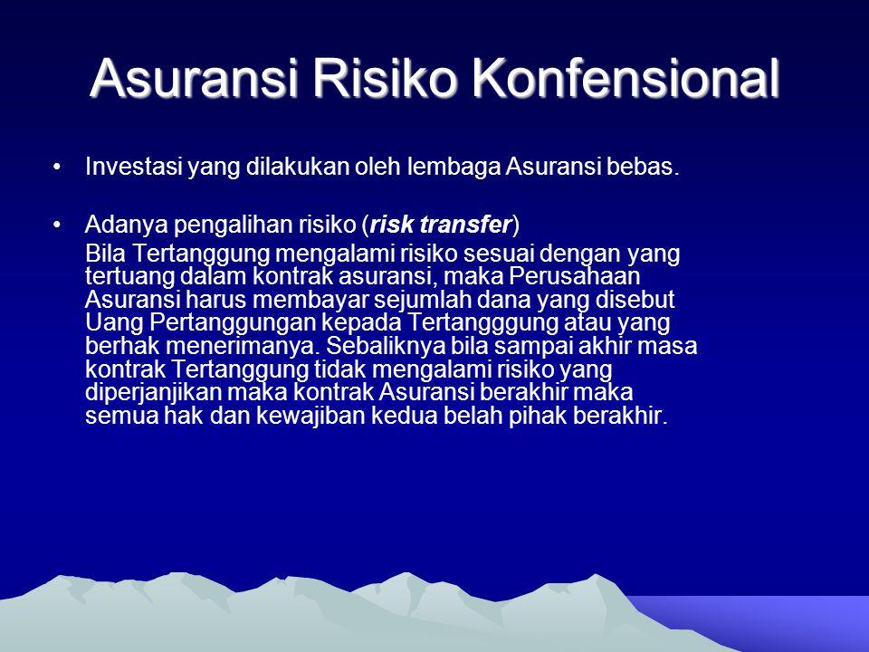 Asuransi Risiko Konfensional •Investasi yang dilakukan oleh lembaga Asuransi bebas. •Adanya pengalihan risiko (risk transfer) Bila Tertanggung mengala