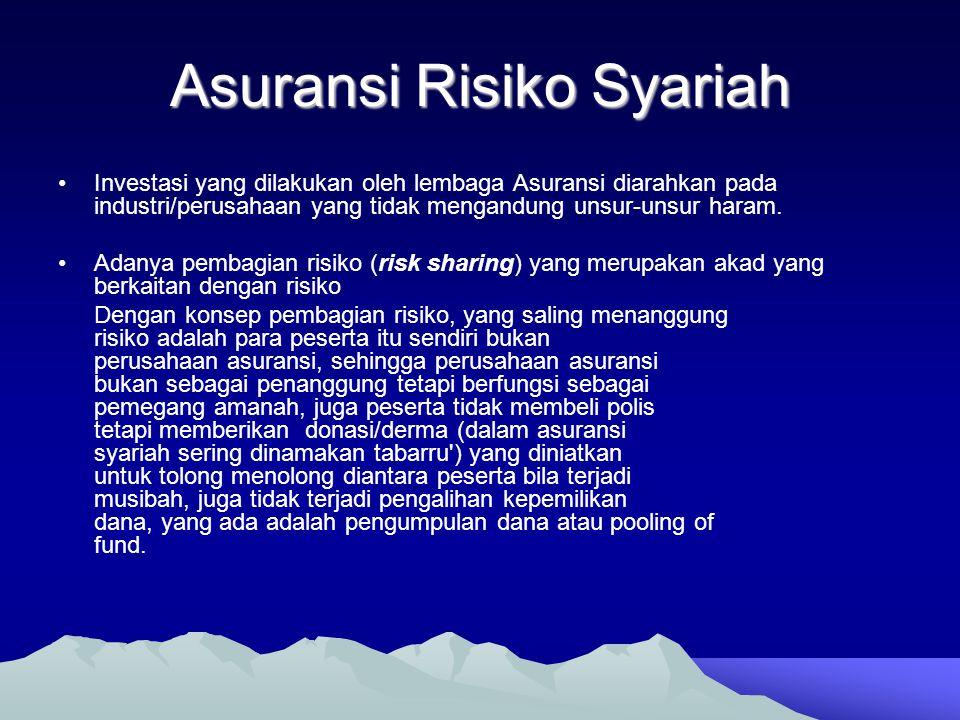 Asuransi Risiko Syariah •Investasi yang dilakukan oleh lembaga Asuransi diarahkan pada industri/perusahaan yang tidak mengandung unsur-unsur haram. •A