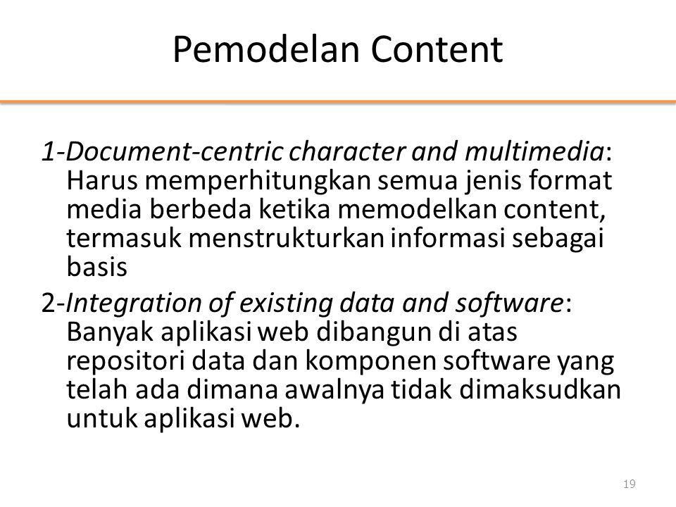 Pemodelan Content 1-Document-centric character and multimedia: Harus memperhitungkan semua jenis format media berbeda ketika memodelkan content, terma