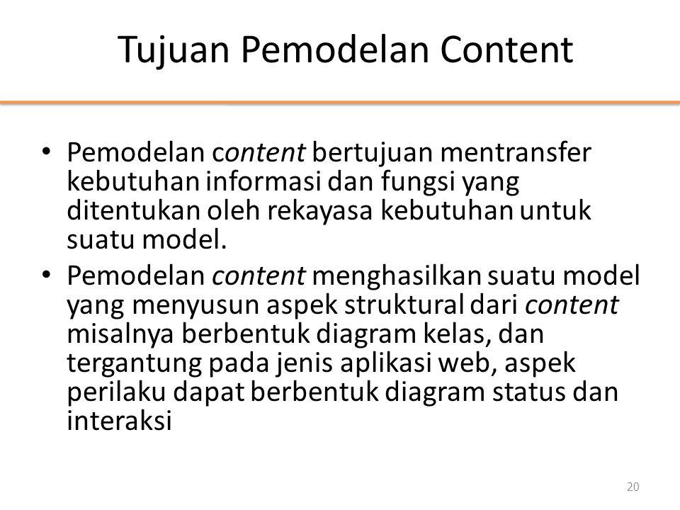 Tujuan Pemodelan Content • Pemodelan content bertujuan mentransfer kebutuhan informasi dan fungsi yang ditentukan oleh rekayasa kebutuhan untuk suatu