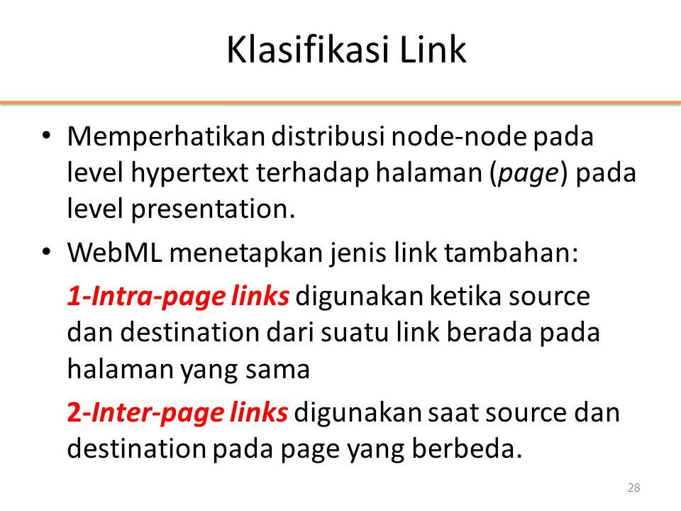 Klasifikasi Link • Memperhatikan distribusi node-node pada level hypertext terhadap halaman (page) pada level presentation. • WebML menetapkan jenis l