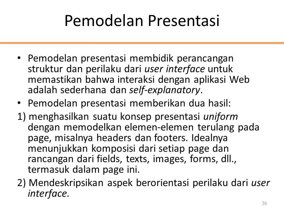 Pemodelan Presentasi • Pemodelan presentasi membidik perancangan struktur dan perilaku dari user interface untuk memastikan bahwa interaksi dengan aplikasi Web adalah sederhana dan self-explanatory.