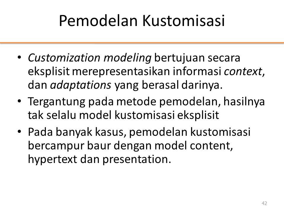 Pemodelan Kustomisasi • Customization modeling bertujuan secara eksplisit merepresentasikan informasi context, dan adaptations yang berasal darinya. •