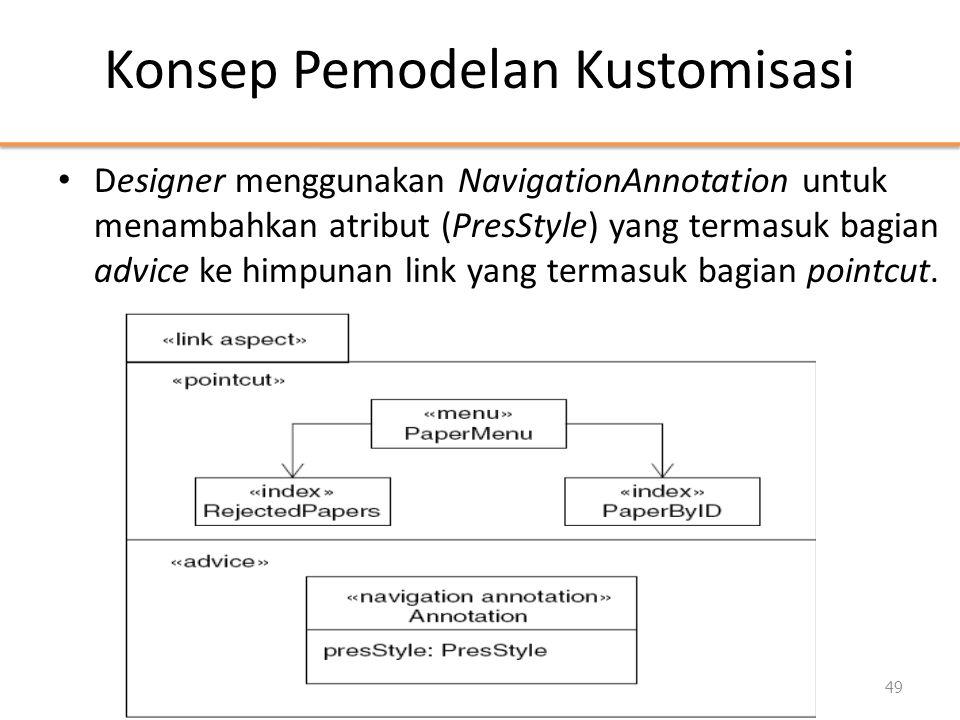 Konsep Pemodelan Kustomisasi • Designer menggunakan NavigationAnnotation untuk menambahkan atribut (PresStyle) yang termasuk bagian advice ke himpunan