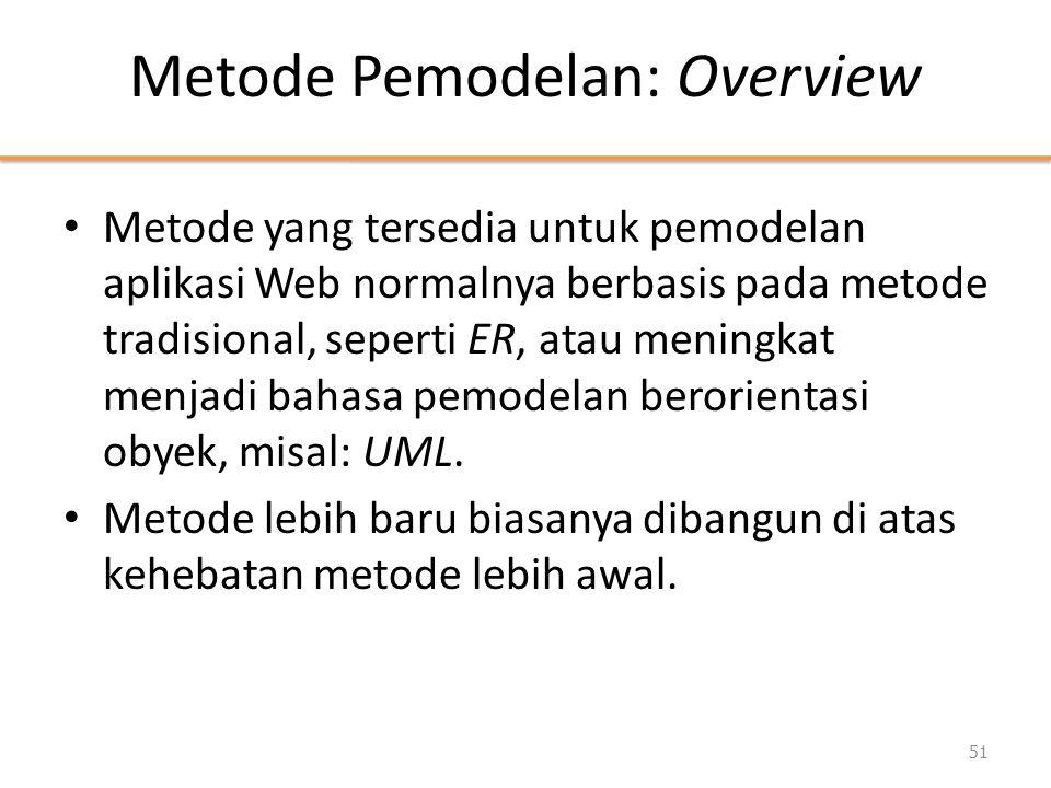 Metode Pemodelan: Overview • Metode yang tersedia untuk pemodelan aplikasi Web normalnya berbasis pada metode tradisional, seperti ER, atau meningkat menjadi bahasa pemodelan berorientasi obyek, misal: UML.