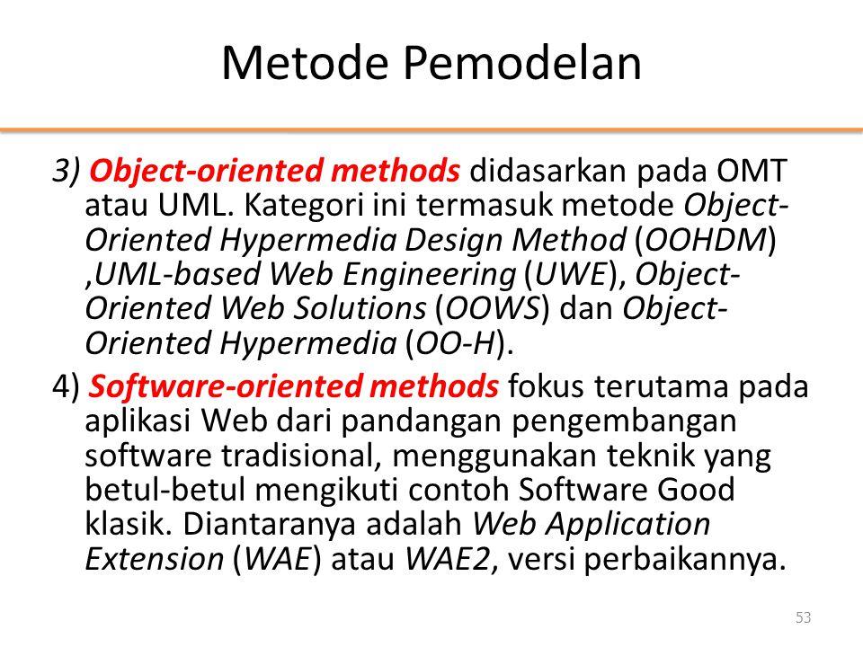 Metode Pemodelan 3) Object-oriented methods didasarkan pada OMT atau UML. Kategori ini termasuk metode Object- Oriented Hypermedia Design Method (OOHD