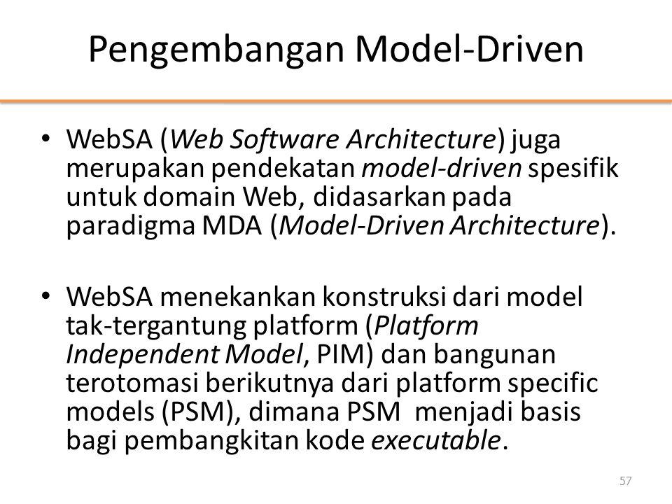 Pengembangan Model-Driven • WebSA (Web Software Architecture) juga merupakan pendekatan model-driven spesifik untuk domain Web, didasarkan pada paradigma MDA (Model-Driven Architecture).