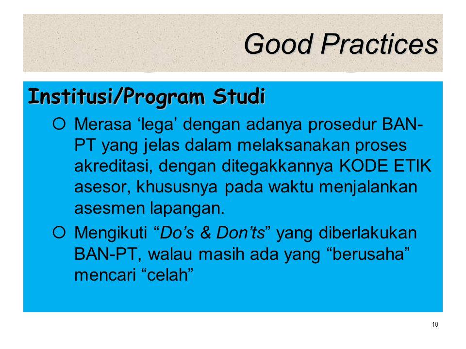 Good Practices Institusi/Program Studi  Merasa 'lega' dengan adanya prosedur BAN- PT yang jelas dalam melaksanakan proses akreditasi, dengan ditegakk