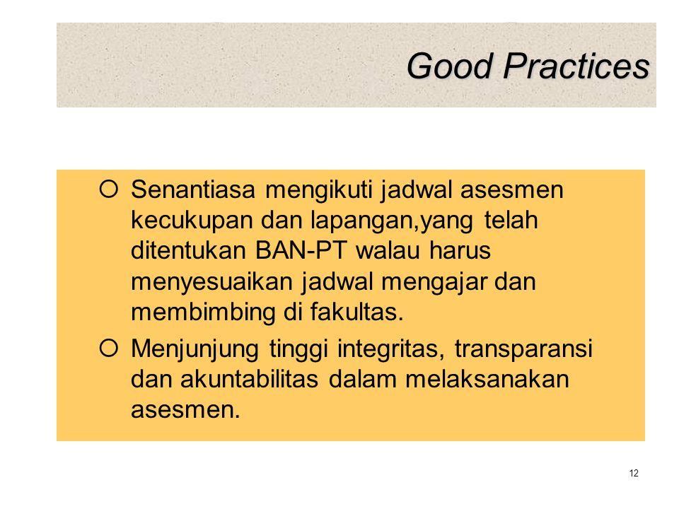 Good Practices  Senantiasa mengikuti jadwal asesmen kecukupan dan lapangan,yang telah ditentukan BAN-PT walau harus menyesuaikan jadwal mengajar dan