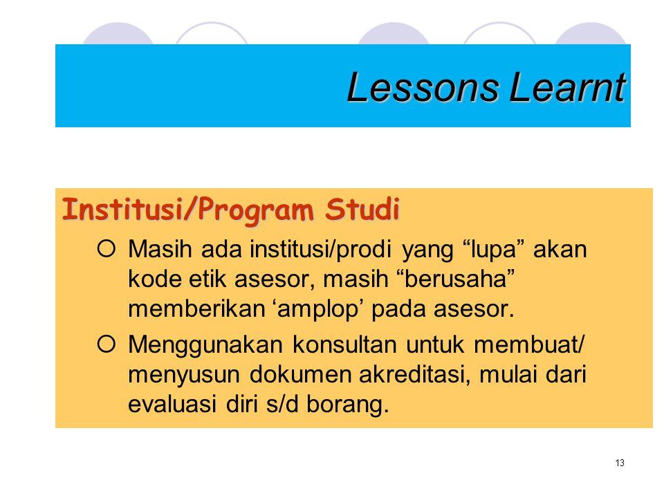 """Lessons Learnt Institusi/Program Studi  Masih ada institusi/prodi yang """"lupa"""" akan kode etik asesor, masih """"berusaha"""" memberikan 'amplop' pada asesor"""