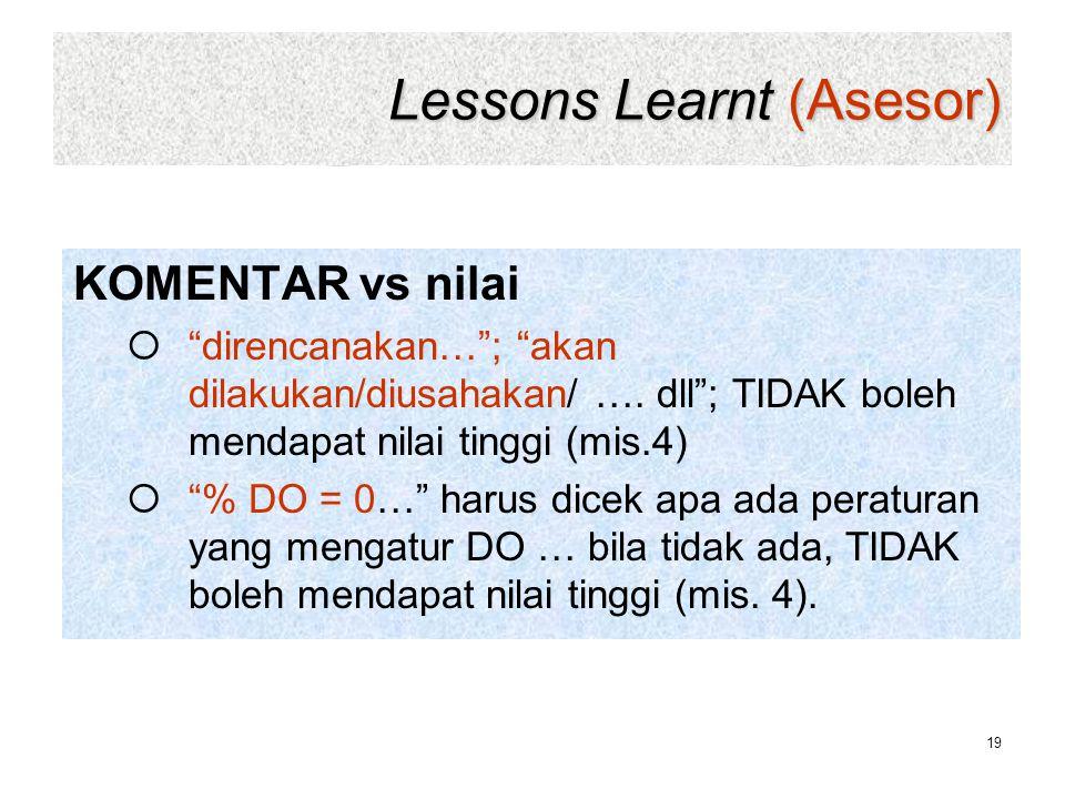 """Lessons Learnt (Asesor) 19 KOMENTAR vs nilai  """"direncanakan…""""; """"akan dilakukan/diusahakan/ …. dll""""; TIDAK boleh mendapat nilai tinggi (mis.4)  """"% DO"""