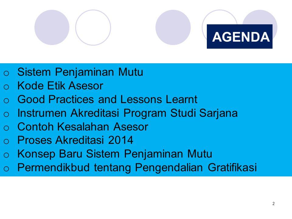 2 AGENDA o Sistem Penjaminan Mutu o Kode Etik Asesor o Good Practices and Lessons Learnt o Instrumen Akreditasi Program Studi Sarjana o Contoh Kesalah