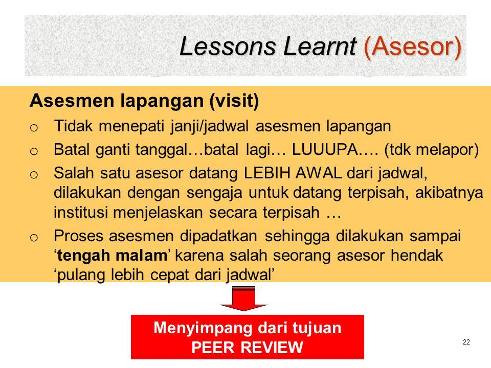 Lessons Learnt (Asesor) 22 Asesmen lapangan (visit) o Tidak menepati janji/jadwal asesmen lapangan o Batal ganti tanggal…batal lagi… LUUUPA…. (tdk mel