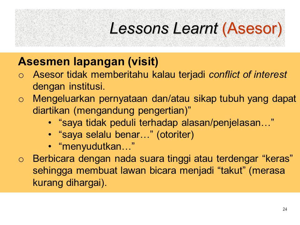 Lessons Learnt (Asesor) 24 Asesmen lapangan (visit) o Asesor tidak memberitahu kalau terjadi conflict of interest dengan institusi. o Mengeluarkan per
