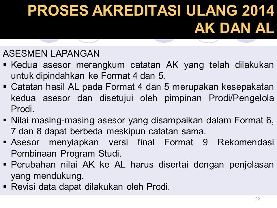 42 Proses Akreditasi Ulang PROSES AKREDITASI ULANG 2014 AK DAN AL ASESMEN LAPANGAN  Kedua asesor merangkum catatan AK yang telah dilakukan untuk dipi