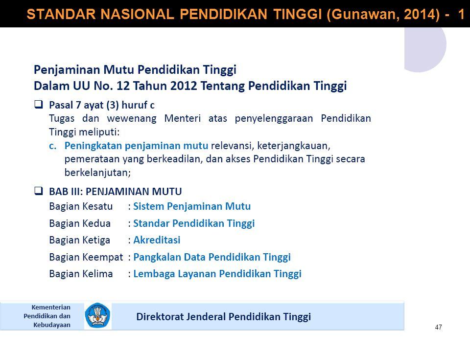 STANDAR NASIONAL PENDIDIKAN TINGGI (Gunawan, 2014) - 1 47