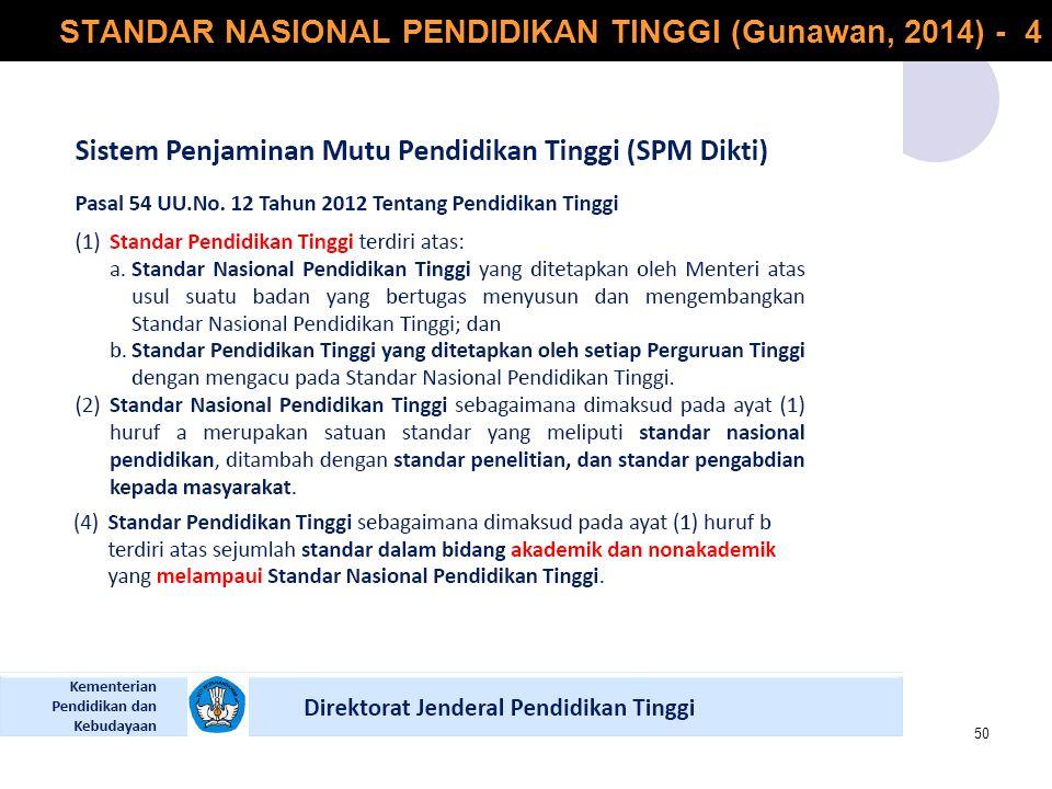 STANDAR NASIONAL PENDIDIKAN TINGGI (Gunawan, 2014) - 4 50