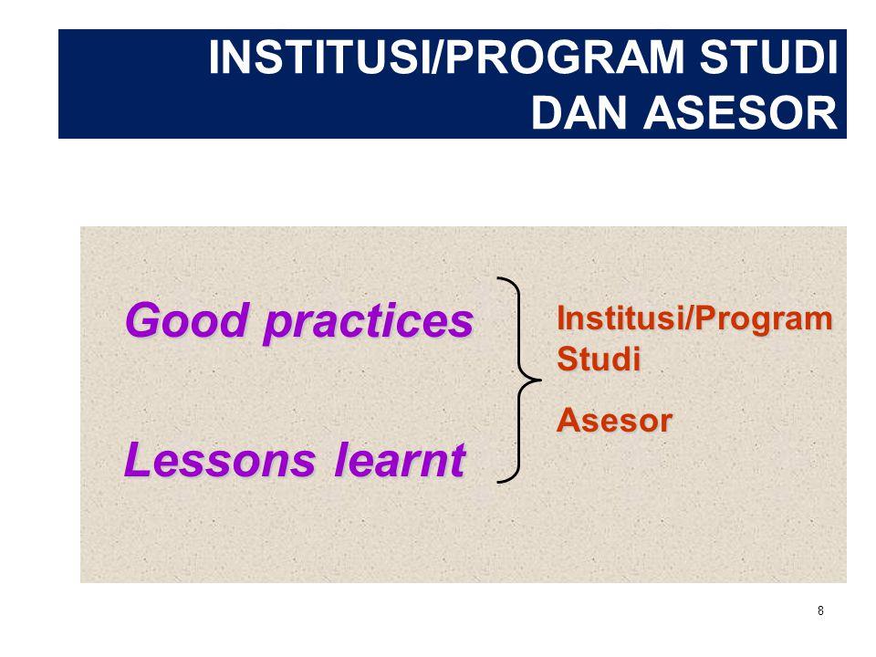 INSTITUSI/PROGRAM STUDI DAN ASESOR Good practices Lessons learnt Institusi/Program Studi Asesor 8
