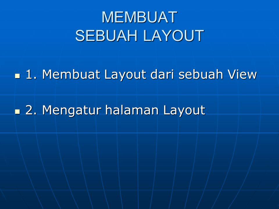 MEMBUAT SEBUAH LAYOUT  1. Membuat Layout dari sebuah View  2. Mengatur halaman Layout