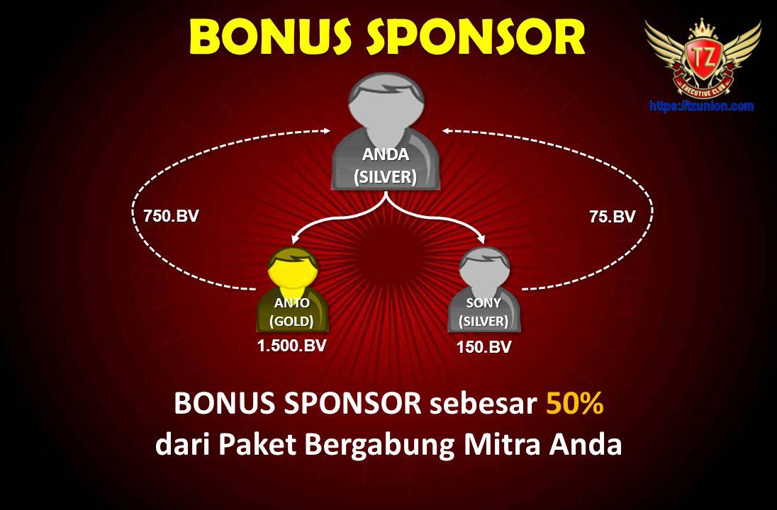5 Macam Bonus TZUNION  Bonus Sponsor 50%  Bonus Pasangan 10% - 20%  Bonus Matching 10% (5 Generasi)  Bonus Vip / Plan B  Bonus Executive / Plan C