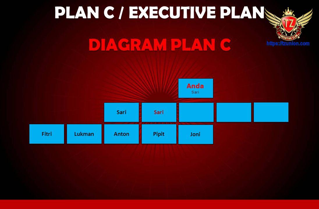 PLAN C / EXECUTIVE PLAN Pada Plan C member hanya bisa VIEW diagram jaringan sampai level 2 saja Seperti contoh berikut ini: CONTOH: Sari Anda Sari And