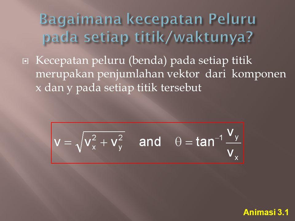  Kecepatan peluru (benda) pada setiap titik merupakan penjumlahan vektor dari komponen x dan y pada setiap titik tersebut Animasi 3.1