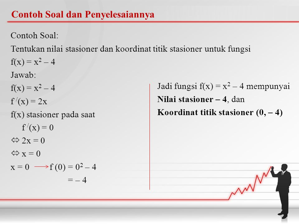 Contoh Soal dan Penyelesaiannya Contoh Soal: Tentukan nilai stasioner dan koordinat titik stasioner untuk fungsi f(x) = x 2 – 4 Jawab: f(x) = x 2 – 4