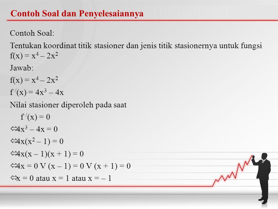 Contoh Soal dan Penyelesaiannya Contoh Soal: Tentukan koordinat titik stasioner dan jenis titik stasionernya untuk fungsi f(x) = x 4 – 2x 2 Jawab: f(x